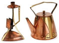 candlestick with attached match holder and tea kettle, copper and brass, both designed by Peter Behrens