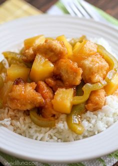 Delicious Baked Sweet and Sour Chicken - a family favorite { lilluna.com } Add pineapple and peppers to this flavorful dish and serve with rice or noodles!