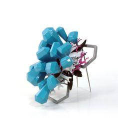 Michael Dale Bernard: Pale Blue Grey brooch, Wood be Diamonds series, 2011
