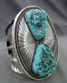 Turquoise Soul  . . .    M.FOWLER (NAVAJO) Sterling and sleeping beauty turquoise cuff bracelet