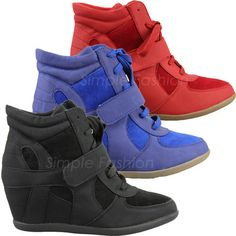New Womens High Heel Wedge Lace Up Velcro Hi Top Trainers Ankle Boots Size 3 - 8