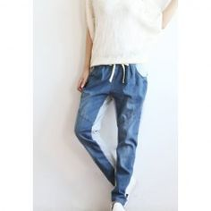 $9.62 Casual Cotton Blend Splicing Color Match Denim Harem Pants For Women