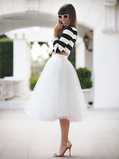 White Midi Skirt Tulle Evening Party Occasion faldas largas New Arrival faldas mujer Women faldas largas skirt skirt skirt skirt outfit skirt for teens midi skirt Fashion Mode, Look Fashion, Fashion Beauty, Womens Fashion, White Fashion, Street Fashion, Retro Fashion, Modest Fashion, Fashion Clothes