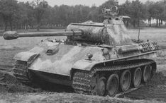 Pz Kpfw V 'Panther' Ausf. G with a Diamler-Benz 'dot' pattern Hinterhalt-Tarnung. Other interesting features are the nightvision device mounted on the commander's cupola and the missing hull MG.