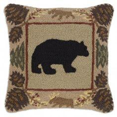 Northwoods Bear Hooked Pillow
