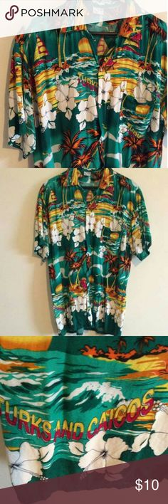 FINAL PRICE Tropical Turks and Caicos shirt This XXL tropical/exotic Turks and Caicos button down colorful short sleeve shirt will surely have you in theme for any tropical island themed party this spring/summer.  Size: XXL 100% Rayon Tops Button Down Shirts