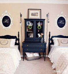 Love the cabinet between the beds rather than a night stand. Great for a shared little girls room. TIDBITS TWINE Guest Bedroom Twin Beds My Home {My Style}