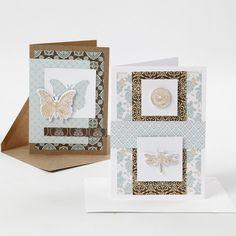 Tee omat onnittelukortit kuviopaperista ja leikatusta perhosesta, sudenkorennosta ja kukkakuvioista, jotka on koristeltu koristefoliolla. IDEA 15235 Card Tags, Cards, Decorative Boxes, Frame, Inspiration, Fest, Home Decor, Tutorials, Ideas