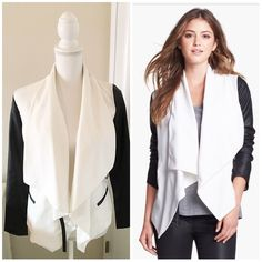 Kensie White Faux Leather Sleeve Drape jacket EUC White jacket with faux Leather Sleeves. Has a leather strap that closes up the jacket for an alternate look. Jacket is lined! Size XS would fit a Small also! Kensie Jackets & Coats