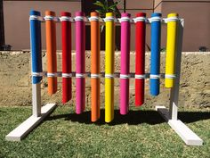 Kids musical pipes 'Thongaphone' Painted pvc pipes on a timber frame. Hit the top with a flip flop or thong for a different sounds. Great addition to an outdoor at area. We just knocked this up for our sons kindy. His teacher says it is a hit! Pvc Pipes, Kids Church, Garden Art, Art Supplies, Playground, Sustainability, Sons, Instruments, Projects To Try