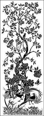 Panel No 2 stencil from The Stencil Library CHINOISERIE range. Buy stencils online. Stencil code CH2.