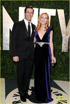 #JenniferWestfeldt #JonHamm at #VanityFair Oscars 2012 after party #couture #Swarovski #velvet #redcarpet #johannajohnson