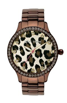 Betsey Johnson Leopard Print Dial Watch | Nordstrom - Click image to find more Women's Fashion Pinterest pins