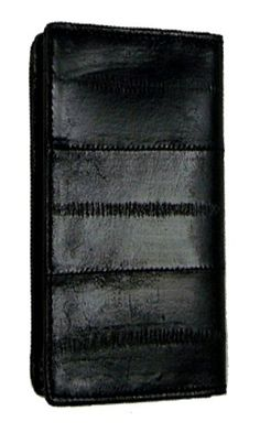 "Material: Genuine Eel SkinSize: 4'' x 3'' (Folded)Credit Card Slots: 1+I.D. Window: Yes (Flip up I.D. Window)Other features: One pull out pocket.The card case is quality constructed with genuine Eel skin leather. Eel skin leathers, called the ""Silk of the Ocean"", combine a colorful thin silky texture and durability. Eel is proven to be 1.5 times stronger than cowhide of the same thickness. The card case features an ID window..."