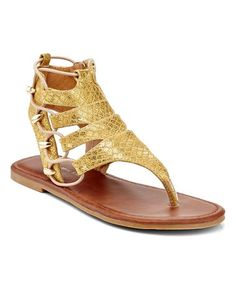 This Gold Reptile-Embossed Cutout Sandal is perfect! #zulilyfinds