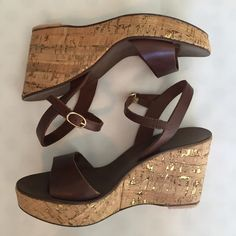 """Flash Sale J.Crew Cork Heeled Wedge Sandals perfect Summer wedges from J. Crew - dark brown leather upper and insole. Wedge Heel is cork and has metallic flecks - Made in Italy. 3.75"""" heel with 1"""" front platform. excellent condition with brand new rubber heel. worn just 3-4 times. J. Crew Shoes Sandals"""