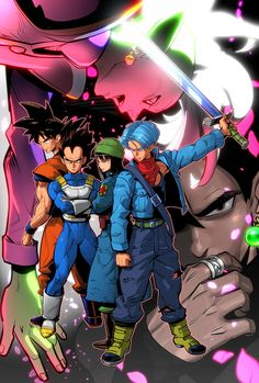 Vegeta, Goku, Trunks, and Mai in the Black Goku saga