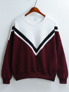 Sweat-shirt+imprimé+V+décontracté+color-block+12.98