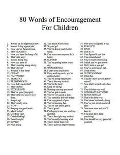 80 words of encouragement for children