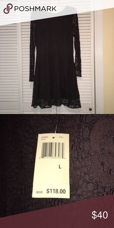 Lets Party!!  Lace Dress Fully lined. Small gathering at waist. Back zipper.  This dress runs small. I am a 6 and this dress in large fits me. MAX STUDIO Dresses Long Sleeve