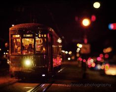 new orleans art street car photography vintage wall art brown home decor new orleans photogaph night photography St Charles at Night by eireanneilis