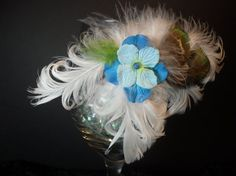 Spring Fling Blue Paper Flower and Feather by SavvyEmbellishments, $11.95