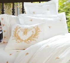 Bee embroidered duvet cover, sham, and sheets Belle Lingerie, Queen Sheets, Modern Outdoor Furniture, Bee Design, Bee Theme, Bees Knees, Duvet Sets, My New Room, Decoration