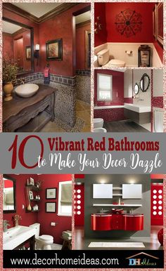 red Bathroom Decor 10 Vibrant Red Bathrooms To Make Your Decor Dazzle Red Bathroom Decor, Bathroom Shower Curtains, Bathroom Colors, Red Bathrooms, Bathroom Ideas, Master Bathroom, Room Color Schemes, Red Walls, Red Bricks