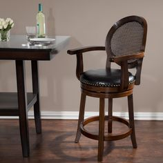 Trademark Lavish Home 26-inch Wood and Leather Swivel Stool with Armrests - Dark Brown (26 in Wood and Leather Swivel Stool with Armrests), Black (Bonded Leather)
