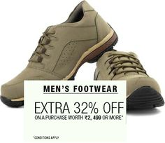 Daily Online Deals: Extra 32% off on Men's Footwear On Purchase Worth Rs. 2,499 or More at Flipkart #dealoftheday