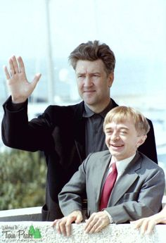 David Lynch and Michael J. Anderson at the 1992 Cannes Film Festival, where Twin Peaks: Fire Walk with Me premiered 21 years ago.