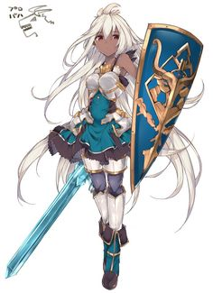 armor armored_dress bare_shoulders blue_dress dark_skin dress granblue_fantasy haruyuki_(yukichasoba) long_hair looking_at_viewer red_eyes shield short_dress simple_background solo sword the_order_grande weapon white_background white_hair Black Anime Characters, Dnd Characters, Fantasy Characters, Female Characters, Fantasy Character Design, Character Design Inspiration, Character Concept, Character Art, Fantasy Girl