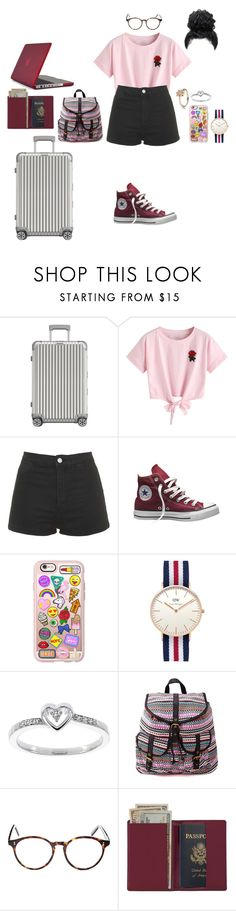"""""""4.19pm"""" by cathxwut ❤ liked on Polyvore featuring Rimowa, WithChic, Topshop, Converse, Casetify, Daniel Wellington, Modern Bride, Charlotte Russe, Cutler and Gross and Royce Leather"""