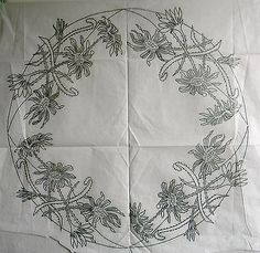 VINTAGE SILVER EMBROIDERY TRANSFER  -  LARGE FLORAL CIRCLE