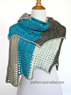 Free Crochet Pattern Blue Ridge Wrap by http://Pattern-Paradise.com