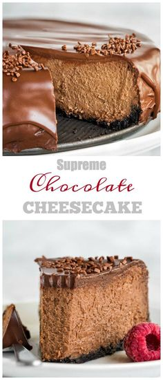 Insanely decadent chocolate cheesecake for your indulgence! It's like biting into creamy chocolate truffle, but in a cheesecake form. #chocolatecheesecake #cheesecake
