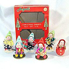 1950s Christmas Pinecone Gnomes Dwarfs Elves Mint in Original Box