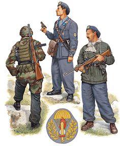 """R.S.I. - Reggimento Paracadutisti """"Folgore"""", 1944-45 - • Paracadutista, Battaglione 'Nembo', Anzio, 1944  • Sottotenente, fronte di Roma, giugno 1944  • Paracadutista, Alpi occidentali, febbraio 1945"""