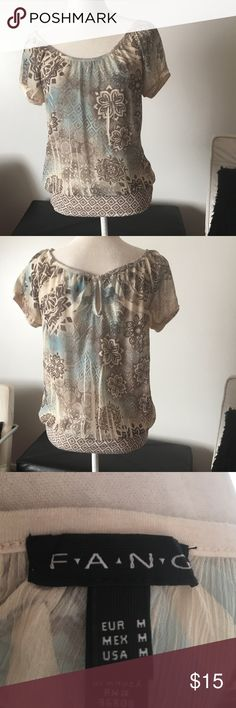 """Sheer Tunic Style Top by """"Fang"""" In very good condition. Would look great with jeans or leggings or a nice pair of dress pants. fang Tops Tunics"""