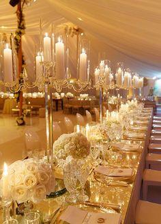 Color Inspiration: Shimmering Gold Wedding Ideas - wedding reception idea; Colin Cowie Weddings