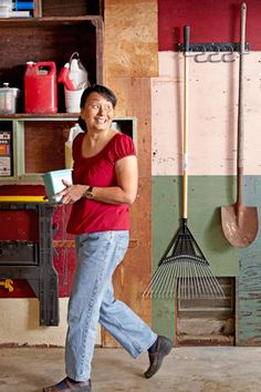 Think Vertical    A sheet of particle board or medium-density fiberboard secured to the rafters creates a useful loft for deep storage. Frequently used items like tools can be affixed to a piece of pegboard or hung from hooks within easy reach.