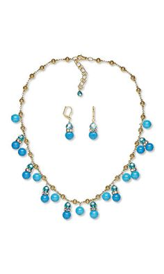 "Single-Strand Necklace and Earring Set with SWAROVSKI ELEMENTS and Mountain ""Jade"" Gemstone Beads"