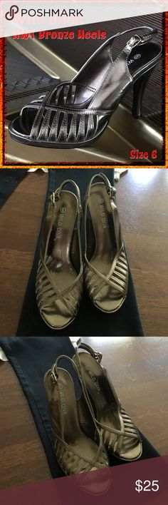 🆕️ Wild Diva Bronze Heels These cute Wild Diva heels are new and ready to join you for a hot night on the town!  From a smoke-free and happy-to-bundle closet   No trades or transactions outside of Poshmark.  [T2136] Wild Diva Shoes Heels