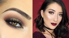 Sparkly Brown Smokey Eye & Vampy Ombre Lips | New Years Eve Makeup Tutorial - YouTube
