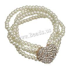 Cristal pulsera de perlas, Perlas de vidrio, con aleación de zinc, Corazón, chapado en color dorado, con diamantes de imitación, 23.5x19x7.5mm, 3x4mm, longitud:aproximado 6 Inch, 10Strandsfilamento/Grupo, Vendido por Grupo,Abalorios de joyería por mayor de China