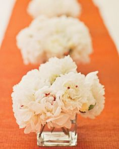 Sometimes all your table needs is a few peonies and a bright runner.