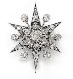 Diamond star brooch, c. 1895