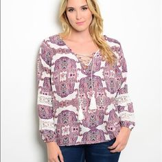 stunning boho plus size blouse! Beautiful in pink and lavender against a white background- with lace up tie front- peasant sleeves with crochet detail! Tops
