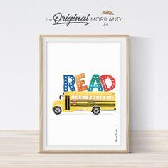 READ Print with School Bus - Printable Art
