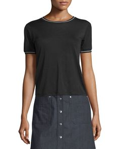 Stevie Tipped Jersey Tee, Black